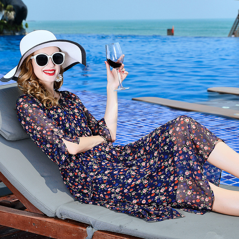 L3HT1536 Europe et états-unis vêtements pour femmes 2018 robe d'été plage 100% soie femme imprimé robe