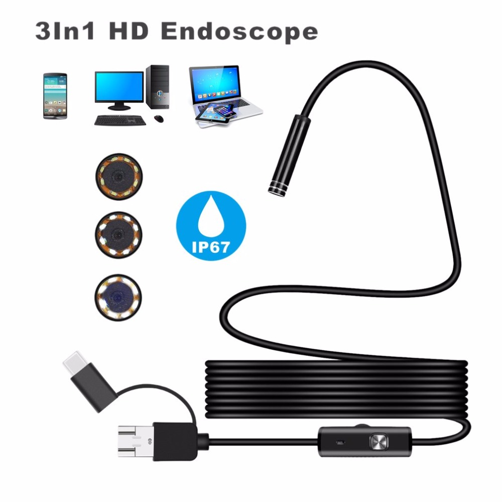 Android 5.5mm lens 2m 3.5m Endoscope USB Type-c 3-in-1 Endoscope Borescope Tube Waterproof Inspection Micro Video Camera for PC volemer 3 in 1 wifi video endoscope waterproof 8mm lens type c usb endoscope for smartphone wireless tube snake borescope camera