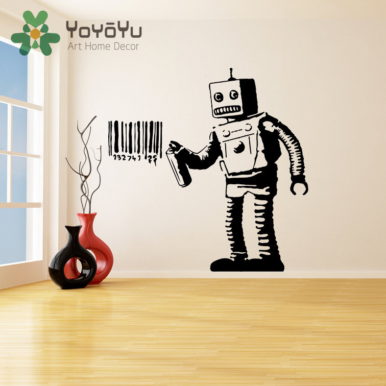Morden Banksy Vinyl Wall Decal Robot Graffiti Machine Painting Barcode Street Graffiti Sticker Funny Robot Art Poster NY-61