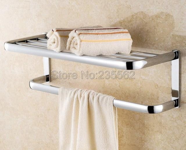 Bathroom Accessories / Wall Mounted Modern Shower Towel Bar Towel Rack Rails  Holder Chrome Brass Finish
