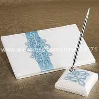 Free shipping Teal Scroll Wedding Guest Book And Pen Set In White Satin 1038