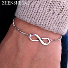 2018 New Fashion Infinity Bracelet for Women Fashion Bracelet Infinity Number 8 Chain Bracelets bileklik jewelry wholesale Q1(China)