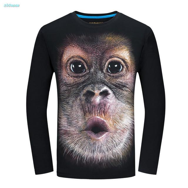 Deportes causales muchachos camisetas niños realista 3D de manga larga de algodón de primavera mens t shirts moda 2017 más el tamaño 5xl 6 xl ropa