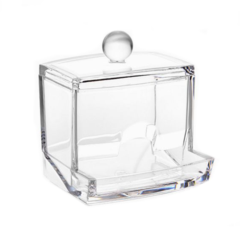 Image 4 - Feiqiong Square Q tips Box Cotton Swabs Holder Cotton Storage Transparent Organizer Box Cosmetic Makeup Case 2019-in Storage Boxes & Bins from Home & Garden