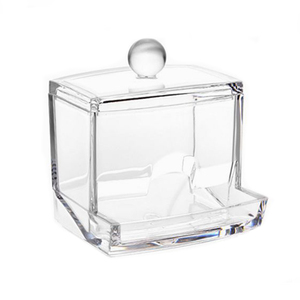 Image 4 - Feiqiong Square Q tips Box Cotton Swabs Holder Cotton Storage Transparent Organizer Box Cosmetic Makeup Case 2019