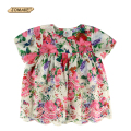 Floral Girls Blouse Kids Princess Blouses&Shirts For Girls Clothes Lace Short Sleeve Elegant Girls Tops Toddler Girl Clothing