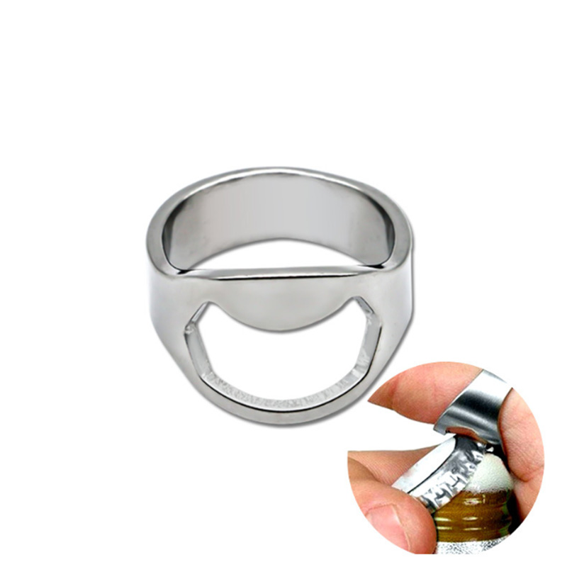 1Pcs Multi-function Stainless Steel Ring-Shape Opener Unique Creative Men Finger Ring Beer Bottle Opener Diameter 22mm