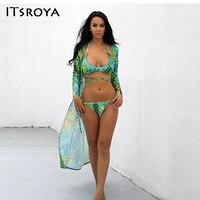 Itsroya Swimsuit 3 Pieces Transparent Swimwear Women Bikini Low Waist Floral Bikinis Set Bathing Suit Biquinis
