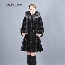 Новинка 2018 года зимние Роскошные iong реального норки Мех животных пальто с лисой большая шляпа длинное завернутый женщина выдра