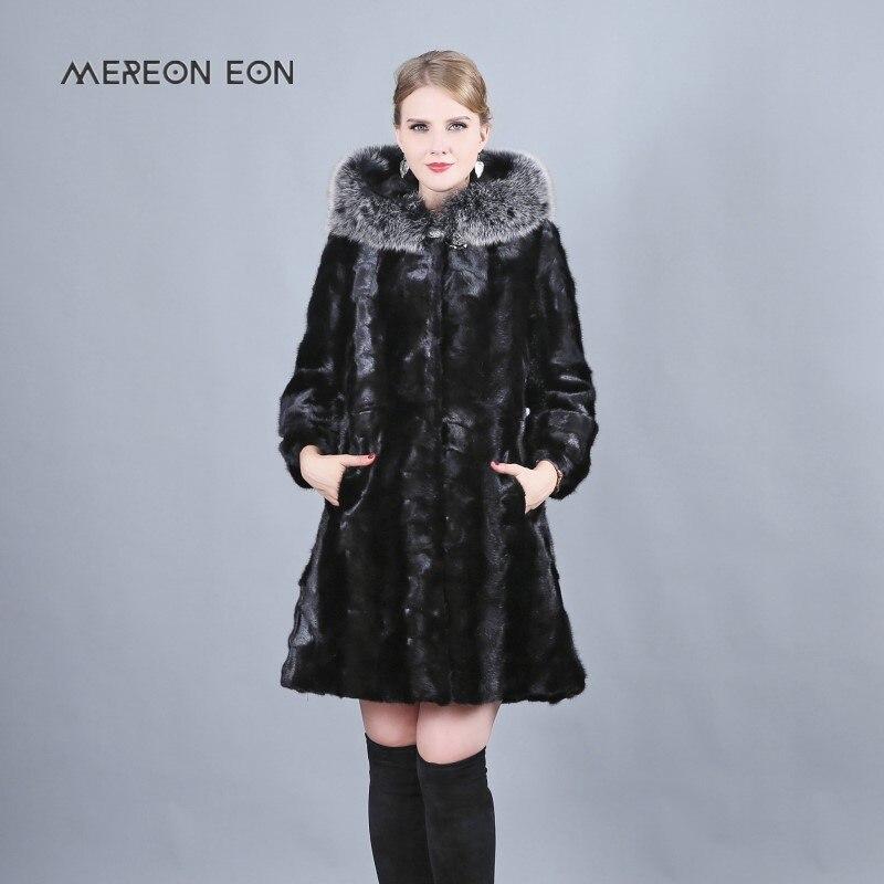 2018 nouvelle hiver de luxe longue véritable manteau de fourrure de vison avec renard grand chapeau long manteau enveloppé femme loutre femelle noir manteau