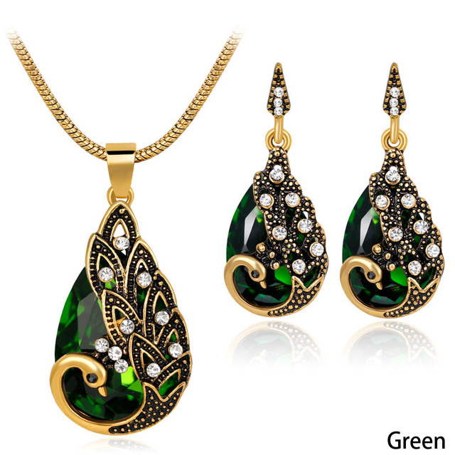 Peacock Jewelry Sets Crystal Necklaces Set Vintage costume jewelry long  pendant necklace and earring bridal wedding jewelry set-in Jewelry Sets  from
