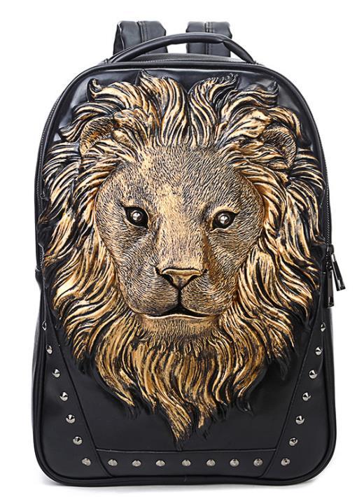 Personnalité Pu Punk rivet sac à dos hommes 3D Animal tête de Lion sac à dos en plein air Cool voyage ordinateur pochette d'ordinateur grande capacité