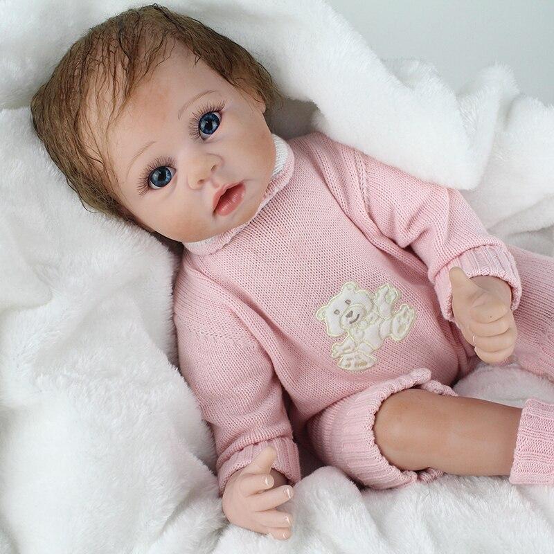 NPK DOLL Reborn Baby Cute Girl Soft Vinyl 22 inch Brown Mohair Christmas Gift For Kids