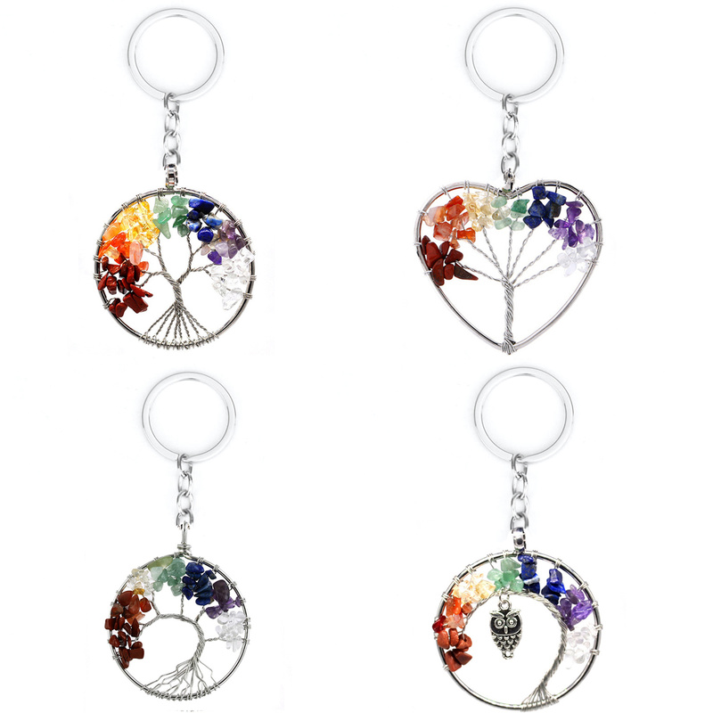 Natural Crystal Stone 7 Chakra Round Tree Of Life Pendant Handmade Keychains Key Ring Key Holder For Women Car Bags Accessories