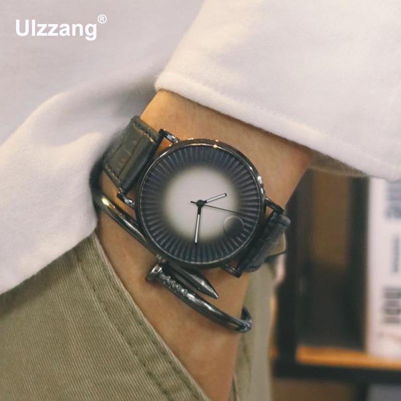 2017 New Fashion Ulzzang Black Brown Quartz Wrist Watch Clock Hours for Men Women Lovers Young Free Shipping classic ulzzang brand vintage genuine leather women men lovers quartz wrist watch gift black white brown