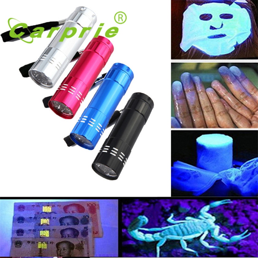 Super Mini Aluminum UV Ultra Violet 9 LED Flashlight Blacklight Torch Light Lamp Black 170118 convoy s2 black uv 365nm led flashlight nichia 365uv in side uv lamp light op reflector fluorescent agent detection