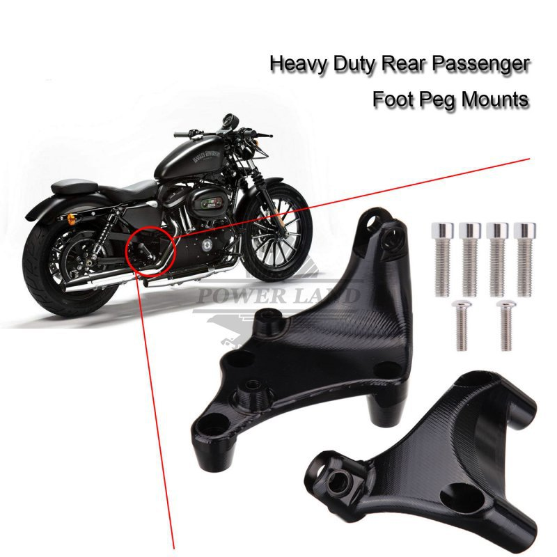 Brand New Black Heavy Duty Metal Rear Passenger Foot Peg Bracket Mounts Fit Harley Sportster Iron 883 1200 2014-2015