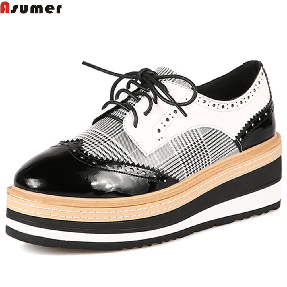 ASUMER black fashion spring autumn new 2018 pumps shoes platform wedges shoes for woman genuine leather high heels shoes siketu 2017 free shipping spring and autumn women shoes fashion sex high heels shoes red wedding shoes pumps g107