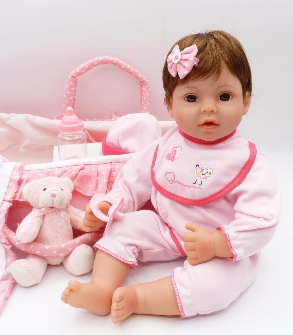 "16"" Bebes reborn silicone reborn baby dolls luxury pink sleeping basket girl dolls toy gift real alive boneca reborn"