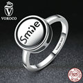 "VOROCO Fashion Jewelry 925 Sterling Silver DIY Finger Ring ""Smile"" Round Shape Ring Women Fashion Jewelry R012"