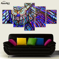 5 Panel Modern Printed Canvas Painting Colorful Owl Pictures for Living Room Home Decoration Wall Art Unframed