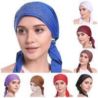12PCS Women Cancer Hat Chemo Cap Muslim Hijab Hair Loss Hat Head Scarf Arab Islamic Turban Bonnet Head Wrap Cover Random Color