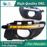 Free shipping !12V 6000k LED DRL Daytime running light case for Mazda Mazda 6 2011 2013 fog lamp frame Fog light Car styling