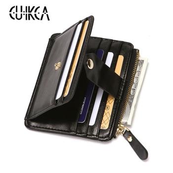 CUIKCA New Brand Unisex Women Men Wallet Business Credit Card Holder ID Cases Zipper Coins Hasp Leather Slim Wallet Purse 1