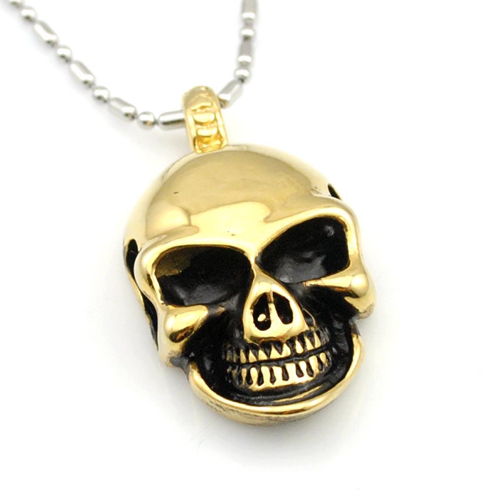 982f32210459 Dolaime 35mm   20mm Acero inoxidable Gothic Rock cráneo colgante collar  hombres joyería al por mayor cráneo de la manera