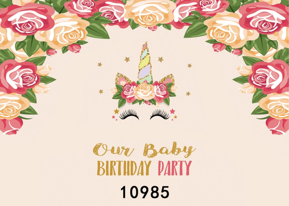 SJOLOON vinyl unicorn party flowers photography backdrops birthday photography background baby photo background for studio props
