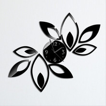 Big flower wall clock modern design luxury mirror 3d crystal clocks best gift! Free shipping!