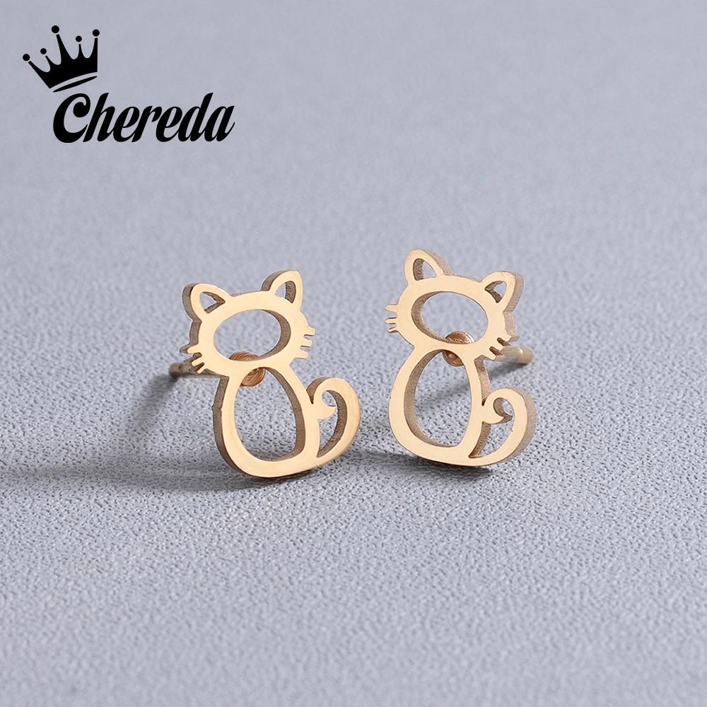 Chereda Korean Classic Cat Earrings Female Stainless Steel Jewelry Cute Animal Stud Earrings for Women Accessories brincos Gift in Stud Earrings from Jewelry Accessories