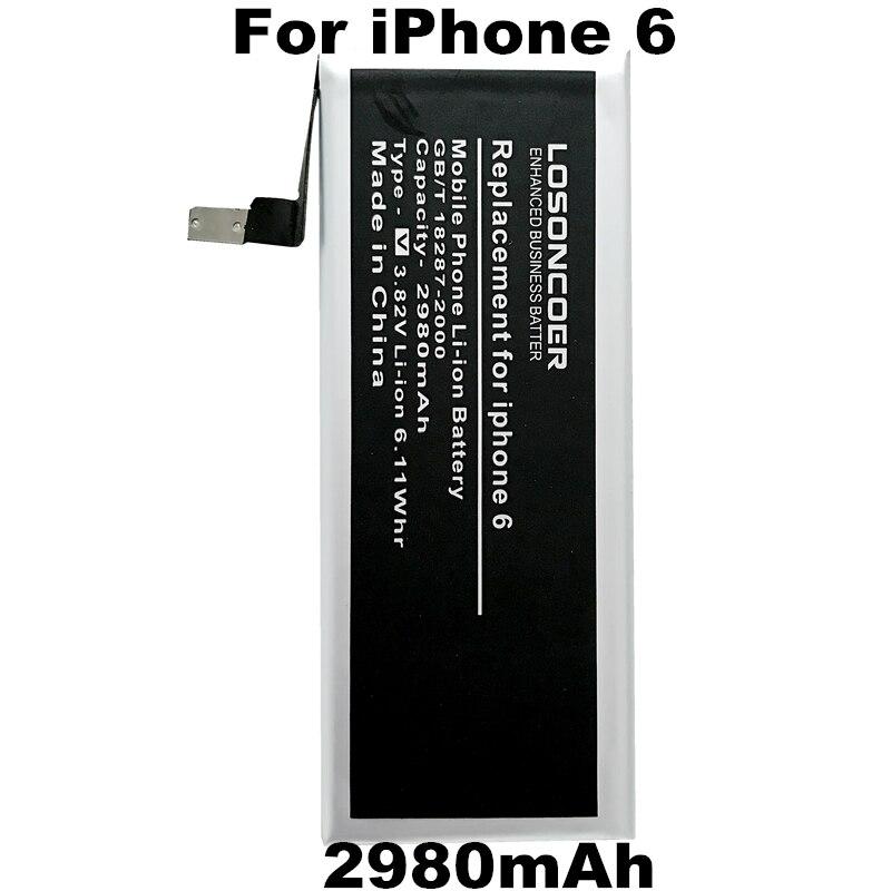 imágenes para Nueva 2980 mAh LOSONCOER Reemplazo Batería Del Teléfono Móvil Para el iphone de Apple 6 Batería para iPhone6 4.7 ''iphone 6g 4.7 pulgadas de La Batería