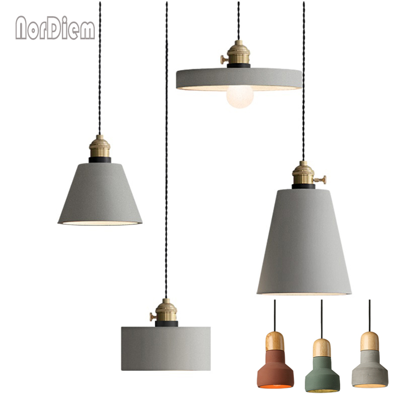 American Country Style Cement Pendant Light E27 Socket Droplight Concrete Hanging Lamp Lighting Fixture for Restaurant Cafe