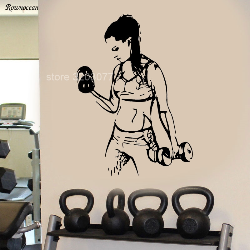 Work Out Gym Home Decor Vinyl Wall Sticker Sport Women Fitness Healthy Decoration Girls Room Removable Mural G-24 ...