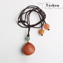 2019  Men women Necklace pendant heart-shaped long necklace Handmade retro orange Sweater chain National wind Natural jewelry