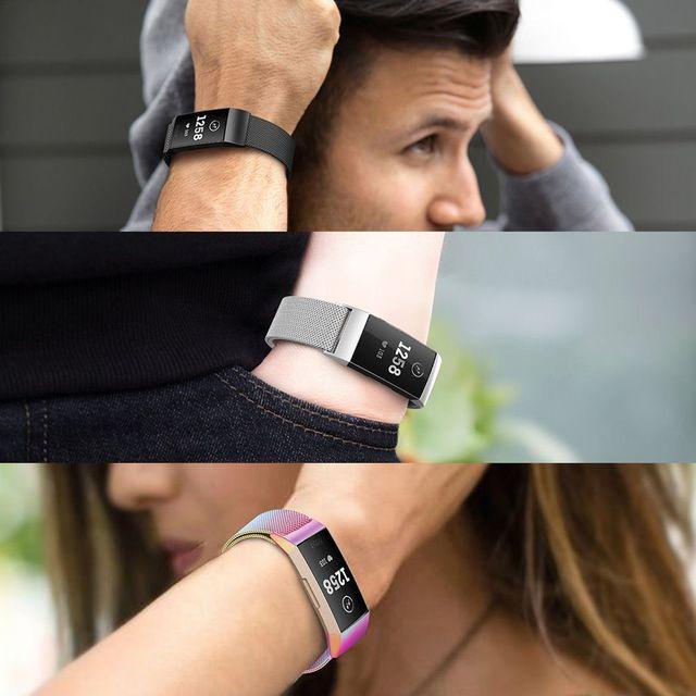 Essidi Milanese pulsera correa para Fitbit Charge 3 reloj inteligente Magenetic Cierre de banda de acero inoxidable para Fitbit Charge 3