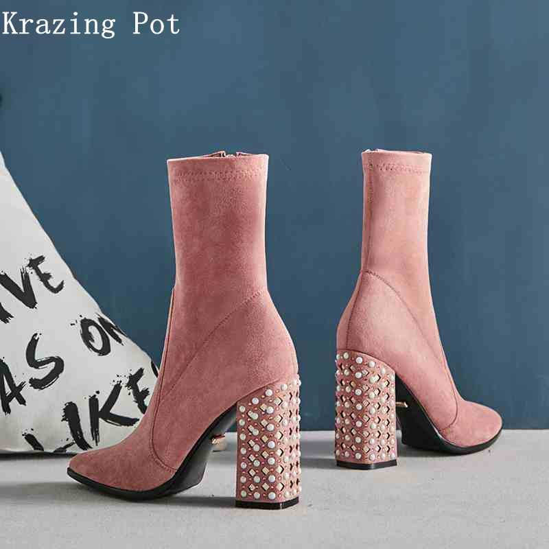 Krazing topf samt flock perle plus größe nieten stretch stiefel dicke heels spitz party superstar winter mid-kalb stiefel L13