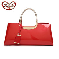 Dinner hand square square Boston bag high quality PU leather light plastic surface shiny high end ladies shoulder diagonal packa