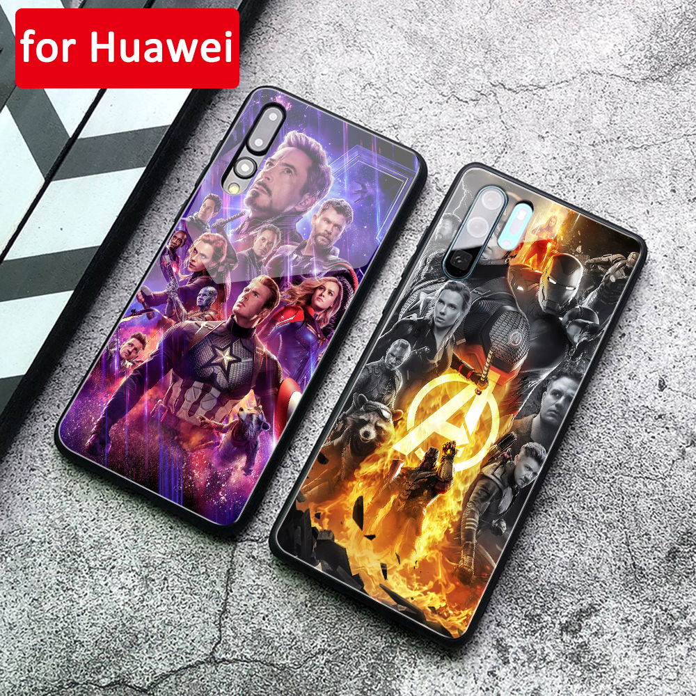 For Huawei P30 Case Avengers END GAME Glass Marvel Cover back Case for Huawei P9 P10 Plus P20 P30 Pro P20 Lite