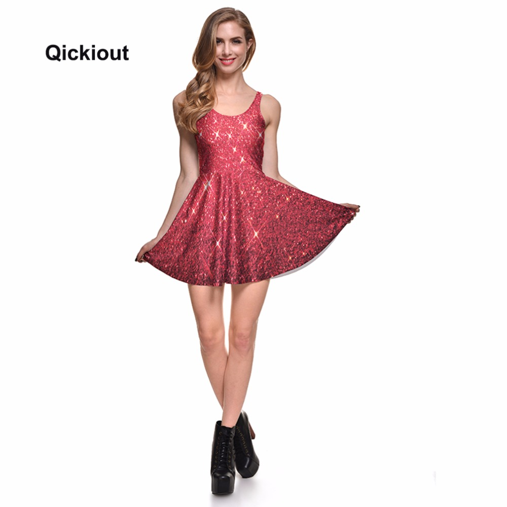 9308991af2 Aliexpress.com : Buy Qickitout Dress Hot Product New Women's Red Star  shining Galaxy Dress Digital Printing SKATER DRESS Vestido Plus Size from  ...