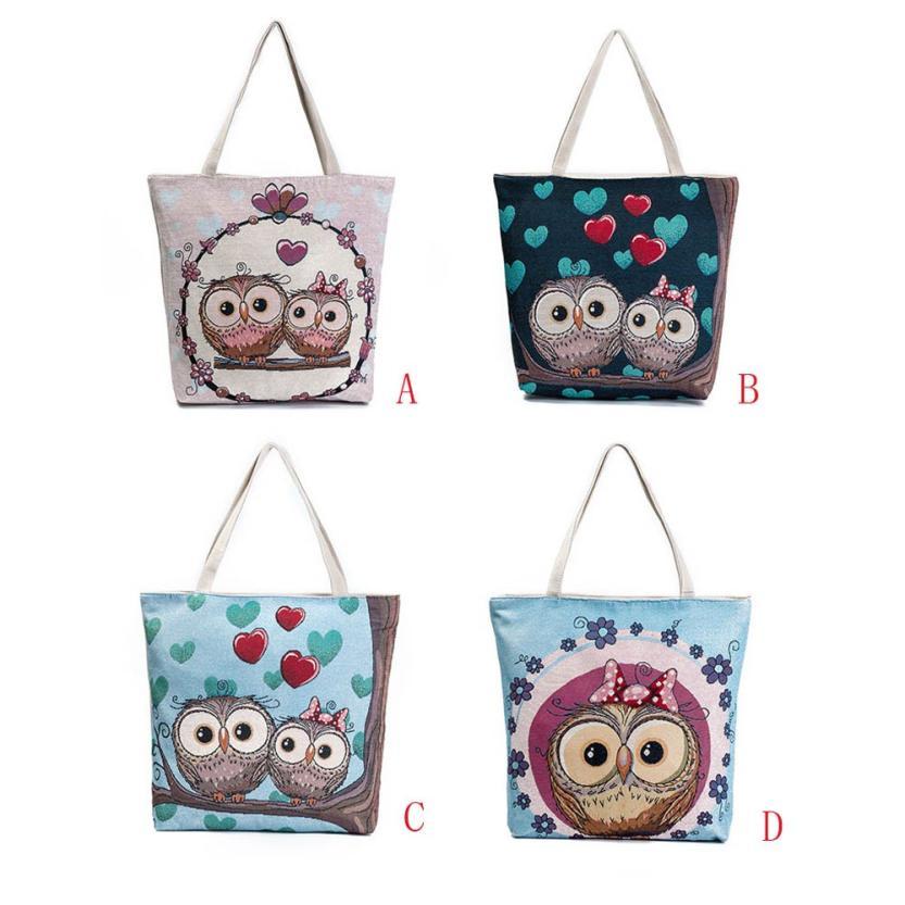 Women Fashion Owl Printed Canvas Tote Casual Beach Bags Women Shopping Bag Handbags School bag book bags 18JUNE12 18JUNE12