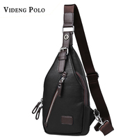 VIDENG POLO Casual Men Leather Chest Pack Fashion Male Shoulder Bag Famous Designer Brand High Quality
