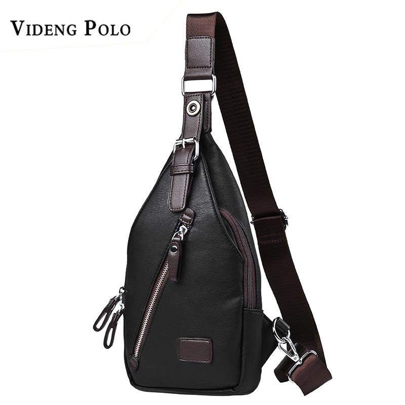 VIDENG POLO Men Bag Leather Casual Chest Bag Fashion Crossbody Shoulder Bag Famous Brand High Quality Messenger Bags Male Bolsos new fashion man bag high quality nylon men messenger bags black famous brand waterproof male shoulder crossbody bag fb3102