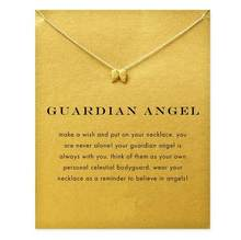 2016 new guardian angel, angel wings necklace gold color Pendant necklace Clavicle Chains Statement Necklace Women Jewelry(China)