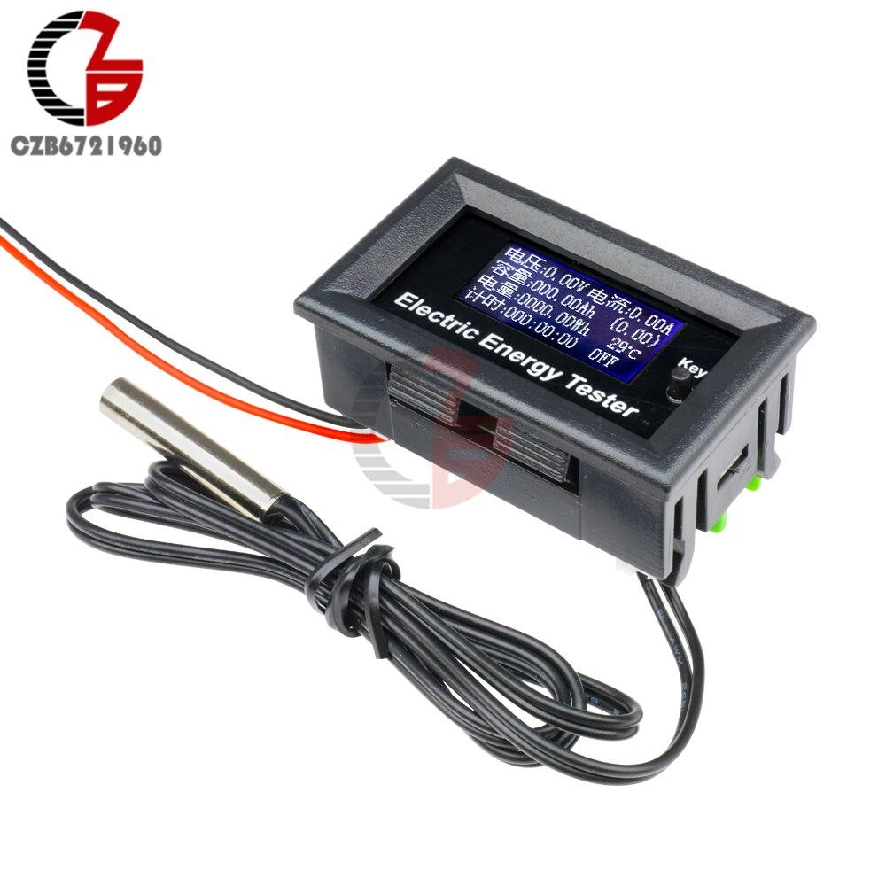 Цифровой вольтметр Амперметр постоянного тока 120 в 20 А с таймером температуры мощности и емкости, измеритель напряжения и тока, термометр, т...
