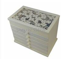תלתן לבן עץ החלל קופסא תכשיטי אחסון תכשיטי תיבת תצוגת מתנות אריזת תכשיטים מעץ קופסות קופסא מתנה Lagre ארון