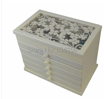 white Clovers space Wood Jewelry Box