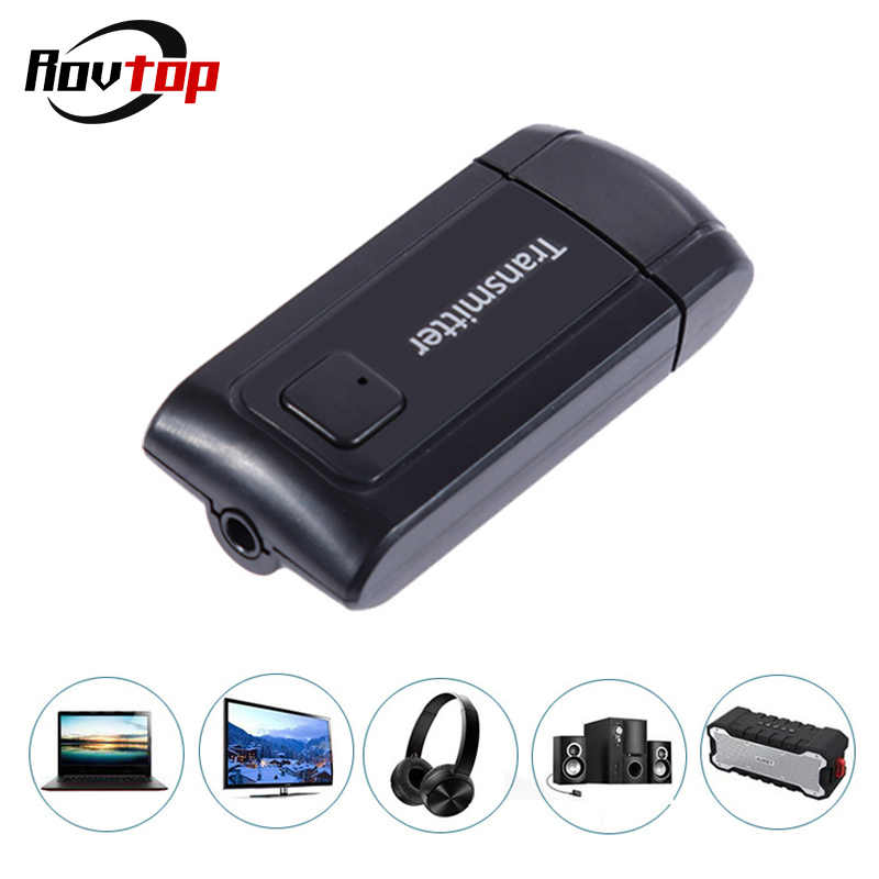 Rovtop Portable USB Wireless Bluetooth Transmitter Stereo Audio Music Adapter Dongle Receiver for TV PC Speaker Headphone Z2
