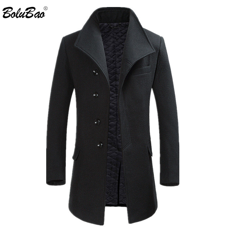 BOLUBAO Winter New Men Wool Coats Casual Brand Men's Fashion Solid Color Thick Coat Male Windproof Warm Wool Blend Overcoat